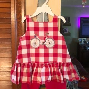 24 month red and white checkered toddler outfit